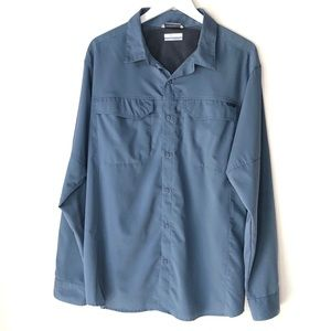 COLUMBIA.  Blue Omni Shade Button Up Shirt.